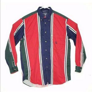 Vtg 90s Nautica Vertical Stripe Colorblock Size M